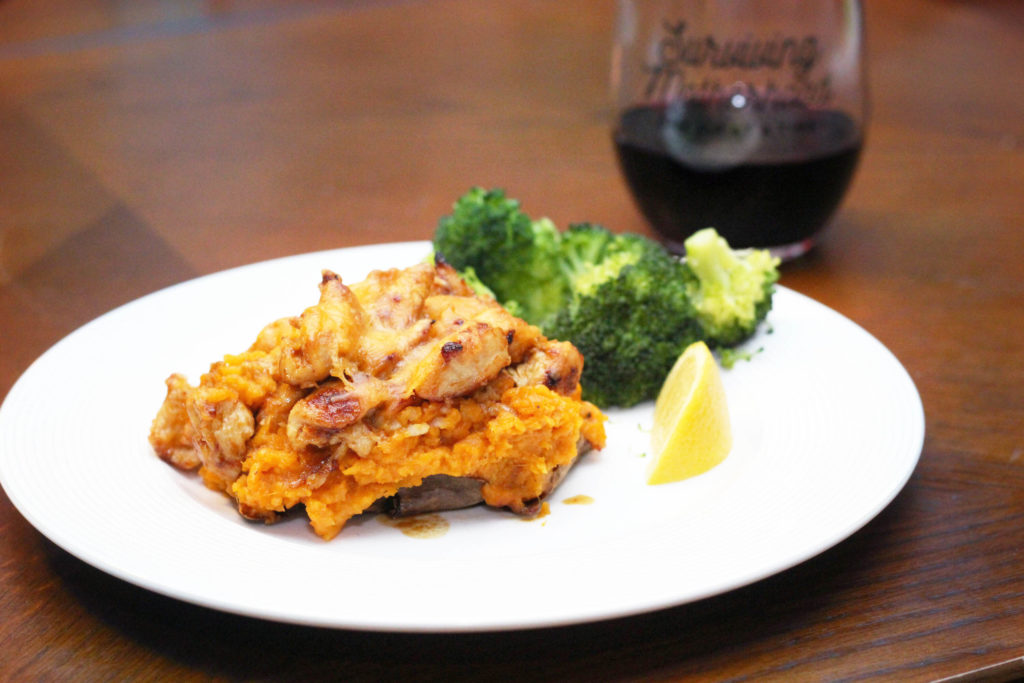 Twice baked sweet potatoes with chicken, an easy weeknight dinner recipe from momlifemusthaves.com