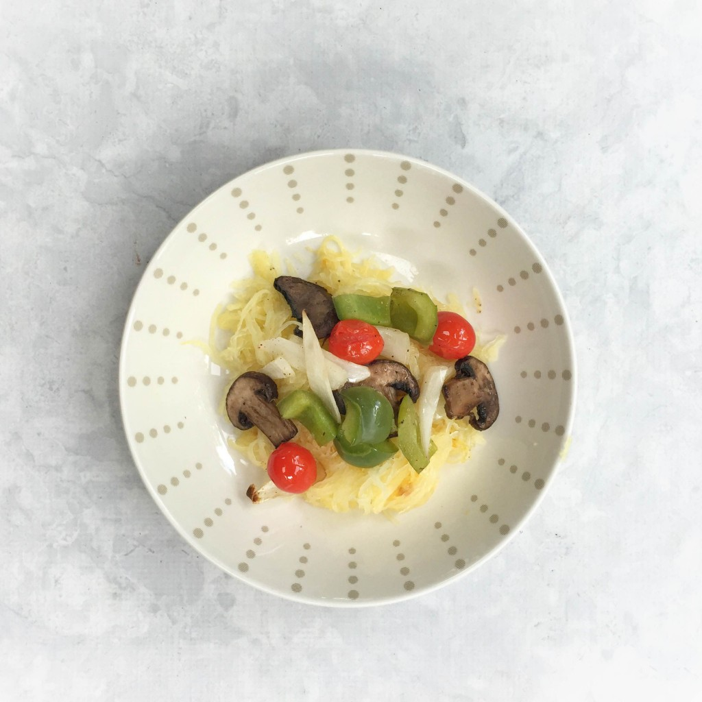 Spaghetti Squash veggie bowl, an easy weeknight recipe for grilling or feeding a family. MomLifeMustHaves.com