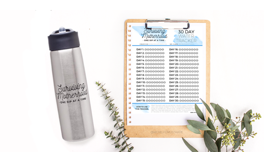 Free Printable Water Tracker // Surviving Motherhood water bottle from momlifemusthaves.com