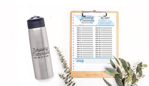 Free Printable Water Tracker // Surviving Motherhood water bottle from momlifemusthaves.com