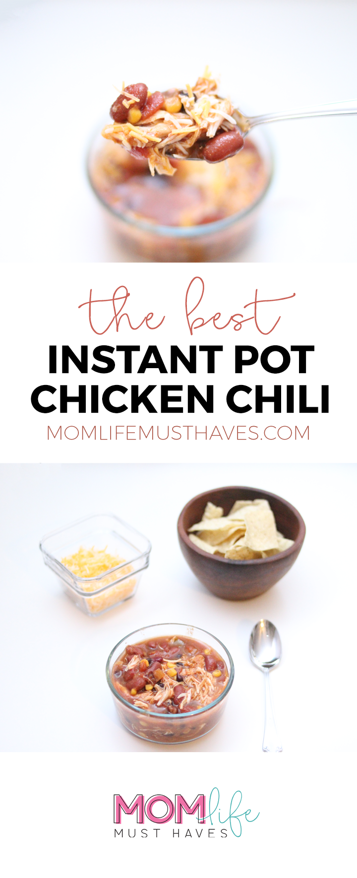 The best instant pot chicken chili recipe || An easy chili recipe the whole family will love at momlifemusthaves.com