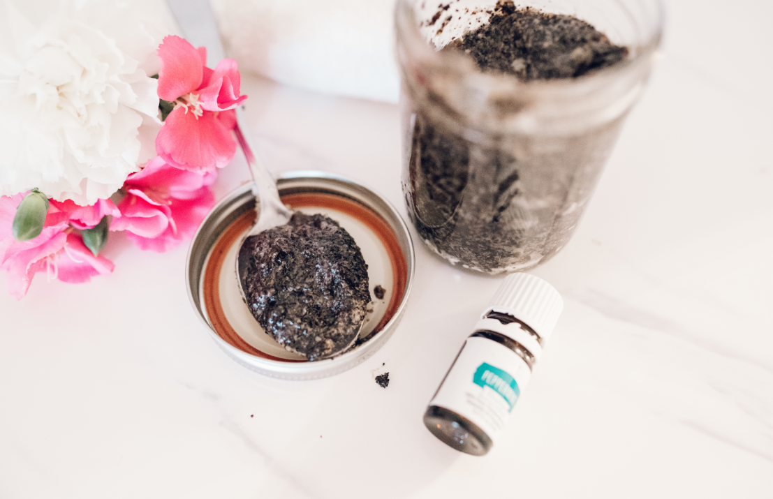 DIY Coffee Face Scrub using Peppermint Vitality Essential Oil - written by Jaclyn Quinones of Crazy Life with Littles